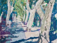 Avenue, Isle sur la Sorgue, oil on canvas, 50cm x 70cm